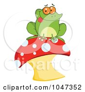 Royalty Free RF Clip Art Illustration Of A Frog Sitting On A Mushroom