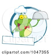 Royalty Free RF Clip Art Illustration Of A Frog Waiter Logo With Copyspace by Hit Toon