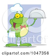 Royalty Free RF Clip Art Illustration Of A Waiter Frog Holding A Platter Over Purple by Hit Toon