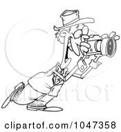 Royalty Free RF Clip Art Illustration Of A Cartoon Black And White Outline Design Of A Happy Photographer by toonaday