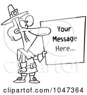 Cartoon Black And White Outline Design Of A Pilgrim Holding A Blank Sign