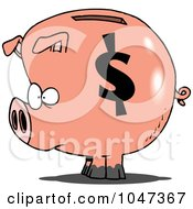 Royalty Free RF Clip Art Illustration Of A Cartoon Dollar Symbol On A Piggy Bank by toonaday