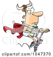 Royalty Free RF Clip Art Illustration Of A Cartoon Weird Man On A Pogo Stick