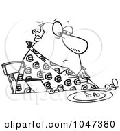 Royalty Free RF Clip Art Illustration Of A Cartoon Black And White Outline Design Of A Fat Man Eating Peas