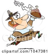 Cartoon Goofy Pilgrim Carrying A Hot Turkey
