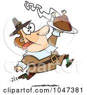 Cartoon Goofy Pilgrim Carrying A Hot Turkey