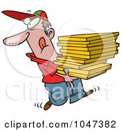 Royalty Free RF Clip Art Illustration Of A Cartoon Goofy Pizza Delivery Boy by toonaday