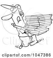 Royalty Free RF Clip Art Illustration Of A Cartoon Black And White Outline Design Of A Goofy Pizza Delivery Boy