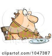 Cartoon Fat Man Eating Peas