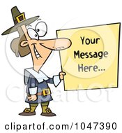 Cartoon Pilgrim Holding A Blank Sign