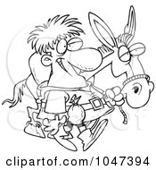 Royalty Free RF Clip Art Illustration Of A Cartoon Black And White Outline Design Of A Peddlar With A Donkey