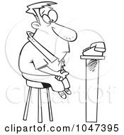 Royalty Free RF Clip Art Illustration Of A Cartoon Black And White Outline Design Of A Man Waiting For A Phone Call