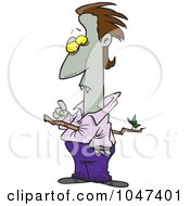 Royalty Free RF Clip Art Illustration Of A Cartoon Vampire Pierced With A Branch by toonaday
