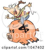 Royalty Free RF Clip Art Illustration Of A Cartoon Businessman Riding A Piggy Bank by toonaday