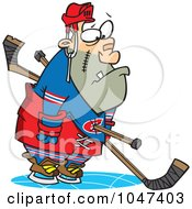 Royalty Free RF Clip Art Illustration Of A Cartoon Hockey Player Getting A Penalty