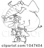 Cartoon Black And White Outline Design Of A Businessman Giving An Elephant A Piggy Back Ride