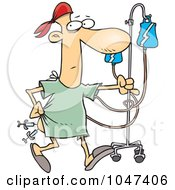 Royalty Free RF Clip Art Illustration Of A Cartoon Hospital Patient With Needles In His Butt
