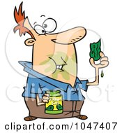 Royalty Free RF Clip Art Illustration Of A Cartoon Messy Man Eating Pickles