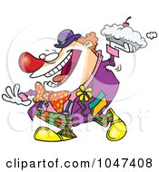 Royalty Free RF Clip Art Illustration Of A Cartoon Clown Throwing A Pie by toonaday