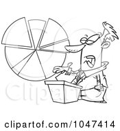 Royalty Free RF Clip Art Illustration Of A Cartoon Black And White Outline Design Of A Businessman Discussing A Pie Chart