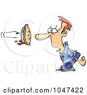 Royalty Free RF Clip Art Illustration Of A Cartoon Pie Flying At A Mans Face by toonaday