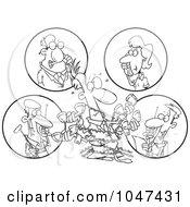 Royalty Free RF Clip Art Illustration Of A Cartoon Black And White Outline Design Of A Tangled Man Holding Multiple Phone Conversations