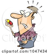 Royalty Free RF Clip Art Illustration Of A Cartoon Man Holding A Giant Pill by Ron Leishman