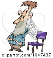Royalty Free RF Clip Art Illustration Of A Cartoon Patient Man With Cobwebs By A Chair by toonaday