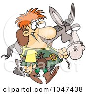 Royalty Free RF Clip Art Illustration Of A Cartoon Peddlar With A Donkey by toonaday