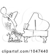 Royalty Free RF Clip Art Illustration Of A Cartoon Black And White Outline Design Of A Fancy Pianist