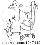 Royalty Free RF Clip Art Illustration Of A Cartoon Black And White Outline Design Of A Hospital Patient With Needles In His Butt