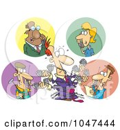 Royalty Free RF Clip Art Illustration Of A Cartoon Tangled Man Holding Multiple Phone Conversations