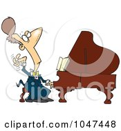 Royalty Free RF Clip Art Illustration Of A Cartoon Fancy Pianist by Ron Leishman