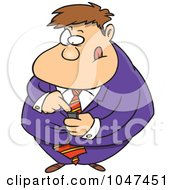 Royalty Free RF Clip Art Illustration Of A Cartoon Businessman Using A PDA by toonaday