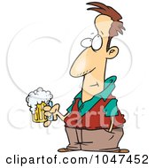Royalty Free RF Clip Art Illustration Of A Cartoon Pensive Man Holding A Beer