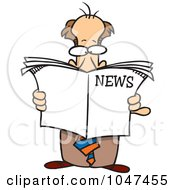 Royalty Free RF Clip Art Illustration Of A Cartoon Standing Businessman Reading The News by toonaday