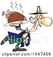 Royalty Free RF Clip Art Illustration Of A Cartoon Pilgrim Carrying A Hot Turkey by toonaday