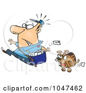 Royalty Free RF Clip Art Illustration Of A Cartoon Mail Man Running From A Dog