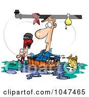 Cartoon Plumber Floating In A Barrel
