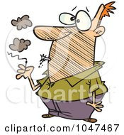Royalty Free RF Clip Art Illustration Of A Cartoon Man Lighting An Exploding Cigarette by toonaday