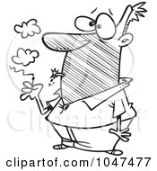 Royalty Free RF Clip Art Illustration Of A Cartoon Black And White Outline Design Of A Man Lighting An Exploding Cigarette by toonaday