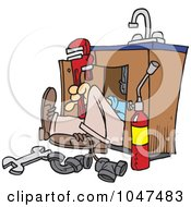 Royalty Free RF Clip Art Illustration Of A Cartoon Plumber Under A Sink