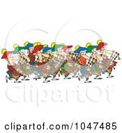 Royalty Free RF Clip Art Illustration Of A Cartoon Group Of Pipers