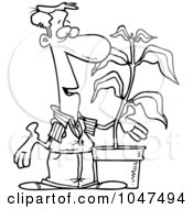 Royalty Free RF Clip Art Illustration Of A Cartoon Black And White Outline Design Of A Guy With A Potted Plant