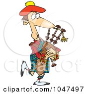 Royalty Free RF Clip Art Illustration Of A Cartoon Man Playing Bag Pipes #1047497 by Ron Leishman