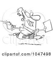 Cartoon Black And White Outline Design Of A Businessman Fetching Coffee And Paperwork