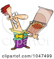 Royalty Free RF Clip Art Illustration Of A Cartoon Happy Man With Pizza