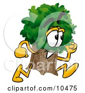 Clipart Picture Of A Tree Mascot Cartoon Character Running