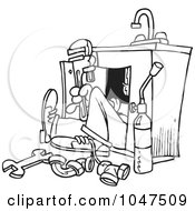 Royalty Free RF Clip Art Illustration Of A Cartoon Black And White Outline Design Of A Plumber Under A Sink