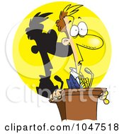 Royalty Free RF Clip Art Illustration Of A Cartoon Man Frozen In The Spotlight At A Podium